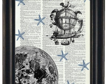 BOGO Sale Moon With Spaceship and Starfish Stars Art Print with A HHP Original Concept and Design Wall Decor Dictionary Dictionary Prints