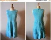 50% OFF SALE vintage 40s hand knit dress - 1940s aqua knitted dress