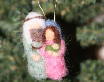 Mini Needle Felted Holy Family Ornament - Choose One (SALE!)