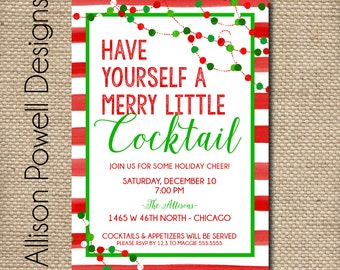 Cocktail party invitation etsy christmas cocktail party invitation merry little cocktail holiday party invitation diy or printed solutioingenieria Images