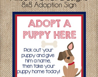 Puppy-Dog-Puppy Dog Birthday Party Adoption Sign