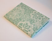 Passport Cover Passport Holder Sleeve Romantic Floral  white lace floral on gray green  - from Fleet and Flourish by Maureen Cracknell