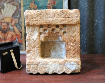 Votive Candle Holder 19th Century Hindu Temple Shrine Indian Stone Niche Small Altar Limestone Temple Garden Decor Moroccan Decor Blue