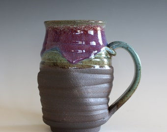Twisted Mug, 18 oz, unique coffee mug, handmade cup, handthrown mug, stoneware mug, wheel thrown pottery mug, ceramics and pottery
