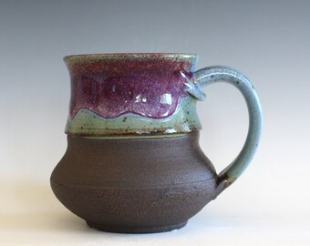 Coffee Mug, 17 oz, handthrown ceramic mug, stoneware pottery mug, unique coffee mug