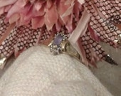 Reserved For Billy SALE Amethyst Marquis 10k Yellow Gold Ring, Clear Accent Stones, High Fashion, Vintage 80s, FREE SHIPPING