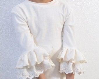 Natural Herringbone Ruffle Layering Shirt / Long Sleeve Layering Shirt for Girls