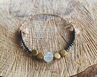 Pyrite and Prehnite bracelet with 14 k gold fill chain