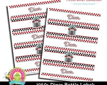 1950s Diner Bottle Labels / 1950s Diner Party / 1950s Party Favors / Sock Hop Birthday / 1950s Birthday / Drink Labels / INSTANT DOWNLOAD