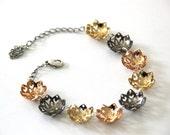 flowers blossom bracelet ,gold plated bracelet,oxidize silver plated bracelet,adjustable chain bracelet.