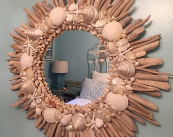 Round Starfish Driftwood Shell Mirror Round White Beach House Decor Coastal Seaside Nautical by CastawaysHall - Ready to Ship