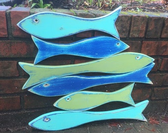 Fish Sign Wall Art Large School of 6 Six Fish Beach Lake House Decor by CastawaysHall - READY TO SHIP