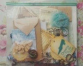 Embellishment Kit, Tags, Buttons, Metal Charms, Ribbon, Journal Cards, DIY, Craft Supplies, Scrapbooking, Cardmaking, Vintage Look