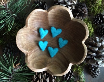 Felted wool hearts, set of 5, Bright Turquoise, miniature teal needle felted wool hearts, housewarming gift under 20, friend valentine