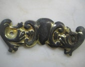"""Vintage Stamped Brass Escutcheon, Shabby Backplate, Jewelry Design, Replacement Hardware,  4 1/4"""" x 1 1/4 """". 1 Pc."""