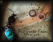 Handmade Post Earrings - Textured Copper Earrings with Sterling Silver Posts