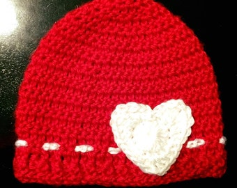 Red and White Valentine's beanie with heart