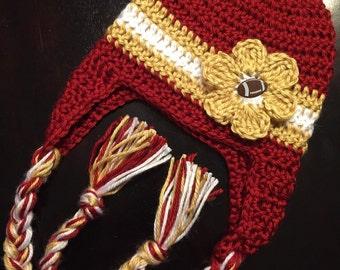 FSU Crocheted Hat with Flower