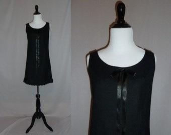 60s Little Black Dress - Sleeveless Wool - Long Satin Bow - Lace Trim - LBD - Carlette Party Dress - Vintage 1960s - S M