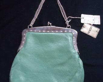 Small Mint Green Leather Vintage 1960's Magid NWT Handbag Purse