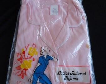 Bubblegum Pink Nylon Vintage 1960's Women's New Old Stock Pajamas NOS 36 M