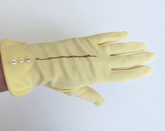 Vintage 60's Gloves Pastel Yellow Nylon Decorative Cutout and Button Design Size 6.5 Frownes