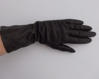 Vintage 60's Women's Glove Brown Leather with Silk Lining Size 6.5