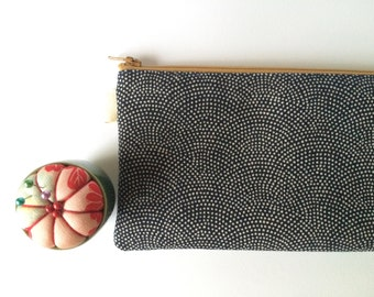 Dotted Seigaiha Indigo Print. Pencil Case, Pencil Pouch. Traditional Japanese fabric print. Navy blue, Zen, Japanese Waves. Zipper Pouch.