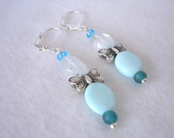 Dangle earring with butterfly and turquoise beads, lever back earring, spring earring