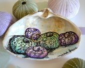 Sea Urchin Ring Dish, Shell Ring Holder, Jewelry Holder, Shell Decor, Sea Life Art, Purple and Green Sea Urchin Art