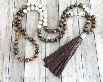 Brown Leather Tassel Necklace - Beaded Boho Necklace - Hand Knotted Earthy Jewelry