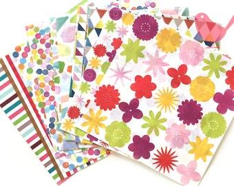 Watercolour print origami paper - set of 14