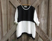 linen top tunic in black with white and black stripe ready to ship