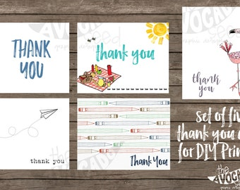 FIVE Teacher Thank you cards DIY Printing (or professional prints with envelopes) - Instant Download