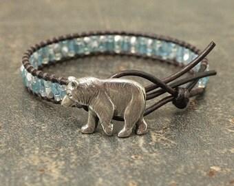 Bohemian Bear Jewelry Silver Turquoise Bear Bracelet Single Leather Wrap Bracelet