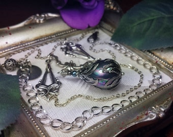Silver Tahitian Pearl Drop Victorian Gunmetal Necklace, Grey Blue Shell Pearl Steampunk Edwardian Bridal Choker, Titanic Temptations 14013