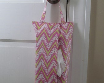 Hanging Tissue Box Cover For Skinny Kleenex/Pink Zig Zag