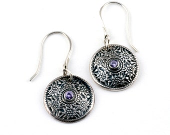 Button Jewelry | Vintage Style | Antique Silver Earrings | Lavender Jewelry