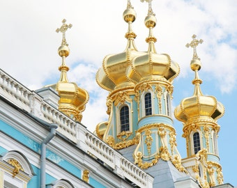 Russia Photography - Catherines Palace Print - Turquoise Gold Decor Saint Petersburg Photo Travel Photography Russian Architecture Wall Art