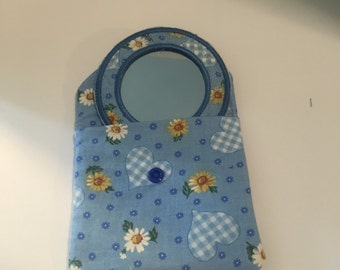 Cosmetic mirror and pouch
