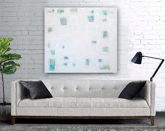 "Large 36"" x 36"" Original Abstract Painting - Contemporary Wall Art Decor - blue - seaglass - squares - geometric"