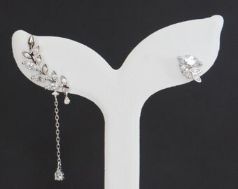 Cubic Zirconia Leaf Earrings, Sterling Silver, Birthday Gift, Bridesmaid Gift, Mother of the Bride