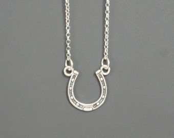 Horseshoe Necklace, Sterling Silver, Lucky Horseshoe, Mother's Gift, Birthday Gift, Kids Jewelry