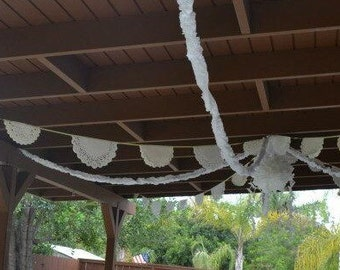 Paper doily garland   25 feet length  handmade ready to ship