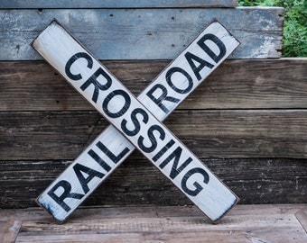 rustic rail road crossing sign vintage crossing sign large playroom decor sign boy's room train track sign