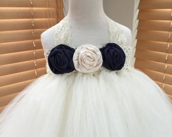 Navy Blue Ivory Flower Girl Satin Rosette Tutu Dress, Wedding Dress, Baby Girl, Toddler, Girls