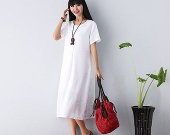 Round Neck Short Sleeve Maxi Dress -  Linen  dress for Women
