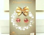 Christmas Gift For Her,Christmas Present,Swarovski Earrings Set,Crystal  Earrings Gift ,Peach Stud Earrings,Peach Swarovski Stud Earrings