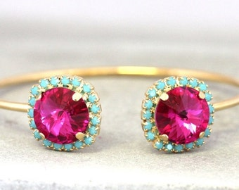 Pink Turquoise Bracelet,Turquoise Pink Fuchsia Swarovski Bracelet,Pink Cuff Bracelet,Swarovski Open Cuff Bracelet,Fuchsia Turquoise Bangle