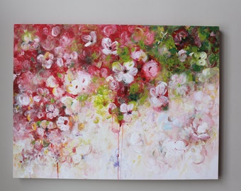 ORIGINAL flower painting,original art,original abstract painting ,modean ,Acrylic painting,red,green,flower,dining room decor